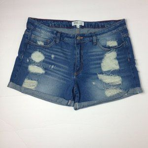 Cello Jean Shorts Distressed Ripped Rolled Cuffs